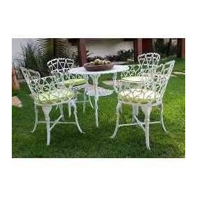 1 Mesa E 4 Cadeiras Viena Alumínio Jardim