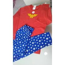 Pijama Mulher Maravilha Em Algodão Infantil