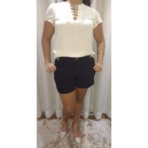 Look Casual Chique Bermuda Shorts Com Lycra E Blusa Linda