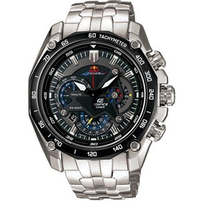 Relógio Casio Edifice Red Bull Ef 550 Prata Fundo Preto S/cx