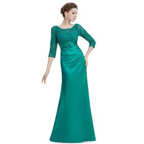 Vestido verde esmeralda noche