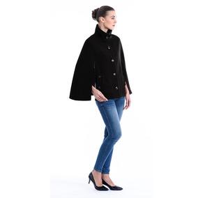 Capa Lian Cuello Alto Poncho Dama Mujer Negro Shyla