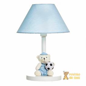Abajur Madeira Menino Urso Azul Bola Futebol Bebê Infantil