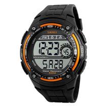 Reloj Hombre Skmei 1203 Naranja Crono Alarma Luz Wr50m Gtia