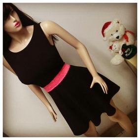 Vestido Juvenil Y Casual Para Damas, Negro Con Encaje Fucsia