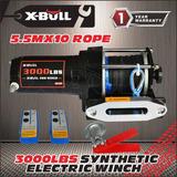 X-bull12v 3000lb Torno Eléctrico Kit Atv Sintético Cuerda T