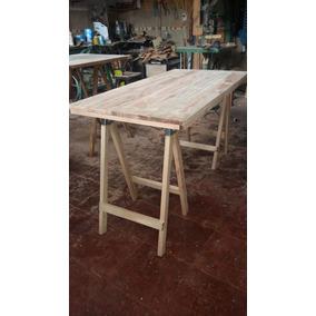 Mesa con caballetes otros en mercado libre argentina for Caballetes de madera para mesas