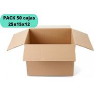 Cajas De Cartón 25x15x12 / Pack 50 Cajas / Cart Paper