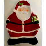 Bandeja Papai Noel Cerâmica Importada P/ Decoração De Natal