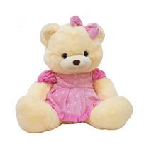 Urso Vestido E Laço Rosa 50cm - Pelúcia