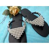 Chinelo Havaianas Preto,sandália Bordada Com Perola E Misaga
