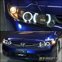 Faros Lupa + Doble Ojo De Angel Honda Civic Coupe 2006-2011