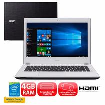 Notebook Acer 4gb 1tb Aspire E5-473-370z I3-5015u, Branco