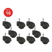 10 Roda Rodinha Rodízio Para Cadeira De Escritório Giratória