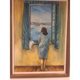 Cuadro Imitación Dalí Mujer Mirando Al Mar En 3d Madera.