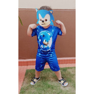 Fantasia Sonic Infantil Curta Com Mascara
