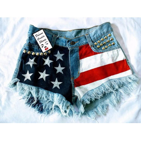 Short Jeans Customizado Bandeira Dos Eua