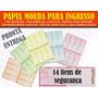 Folha De Papel Moeda A4 Com 8 Ingressos Por Folha 5 Cores