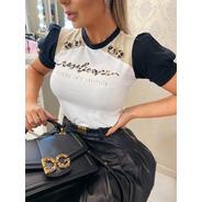 Blusa T-shirt Feminina Detalhes Em Animal Print