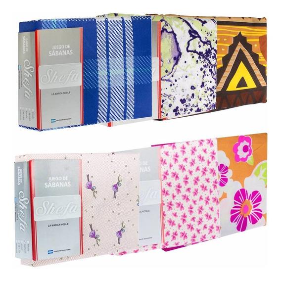 Pack De 3 Juegos De Sábanas Shefa Keter 1? Plaza Línea Económica Pack Promo Dise?os Surtidos Microfibra Tienda Rupless