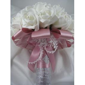 Buquê De Noiva Branco C/ Cabo Rosé