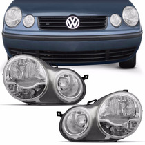 Farol Polo Hatch Sedan 2003 2004 2005 2006 Máscara Cromada