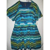 Vestido Plus Azul Estampado Talla 22- 24w Extragrande