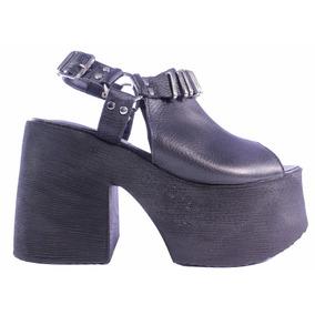 Zapatos Mujer Plataforma Sandalias Cuero Alta Noche Tops