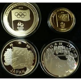 Moeda Bandeira Ouro+prata+japão Olímpica/paralimpica Replica