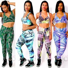 Kit 04 Conjuntos De Legging + Top Roupas Femininas Academia