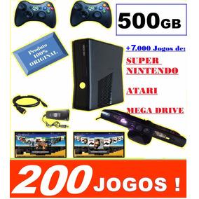 Xbox 360 + Kinect + 2 Controles Sem Fio +hd 500gb +200 Jogos