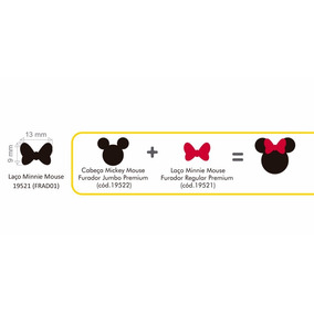 Kit Furador Jumbo + Regular Mickey Laço Minie Disney Eva
