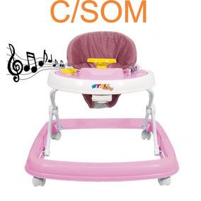 Andador Bebe Infantil Musical Menina Rosa 6 Rodas 9900742
