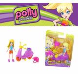 Muñeca Polly Pocket Con Casco Y Moto Vehiculo Juguete Poly