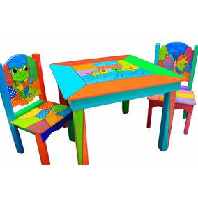 Juego Mesa + 2 Sillas Infantiles Arte Pop Artesanal