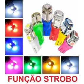 Lampada T10 Strobo E Luz 5 Led Varias Cores W5w Unidade