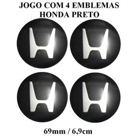 Jogo De Emblema Em Aluminio Preto Honda 69mm P/calota Roda