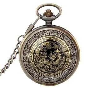 Relógio De Bolso Vintage Phoenix Dragão Quartzo