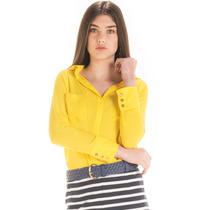 Camisa Social Amarela Feminina Principessa Katiuce