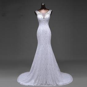 Vestido De Noiva Sereia Com Véu Imagens Reais Pronta Entrega