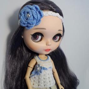 Blusa & Tiara Crochê Branca Bonecas Blythe, Barbie, Pullip