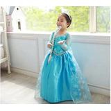Vestido Princesa Elza Frozen Disney Fantasia Lindo Promoção