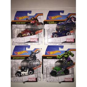 Set De 4 Motos Hot Wheels Iron Man Capitan America Hulk Nvas