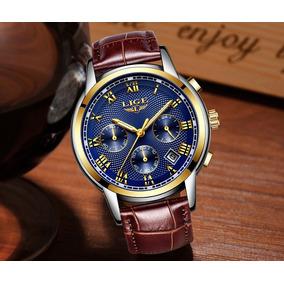 Relógio Social Lige Modelo 9849 - Pulseira De Couro/marrom