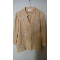 Conjunto Dos Piezas Pantalon Y Blazer Mujer Color Amarillo
