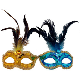 12 Pzas Antifaz Fiesta Plumas Carnaval Batucada Disfraz Mod1