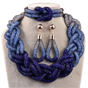 Set Collar Aretes Pulsera Gradiente Azul Brillante Elegante