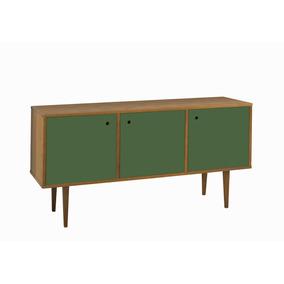 Buffet Vintage Com 3 Portas Na Cor Verde Oliva
