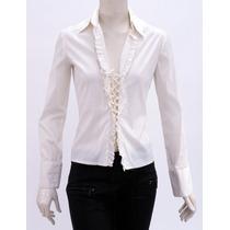 Camisa Blanca, Cordones En Frente, Olanes Trina Turk La