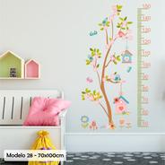 Vinilo Decorativo Infantil Medidor Altura Arbol Flores M28